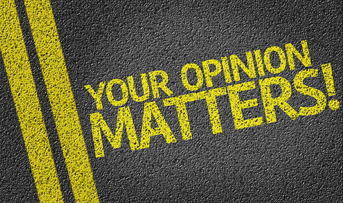 Your Opinion Matters written on the road